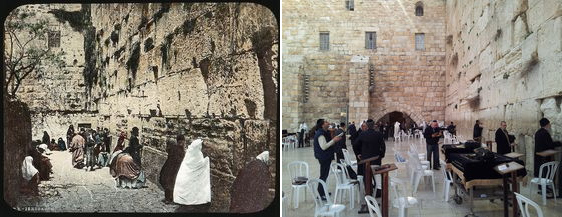 The western wall, Jerusalem, then and now -  1890 - 2014