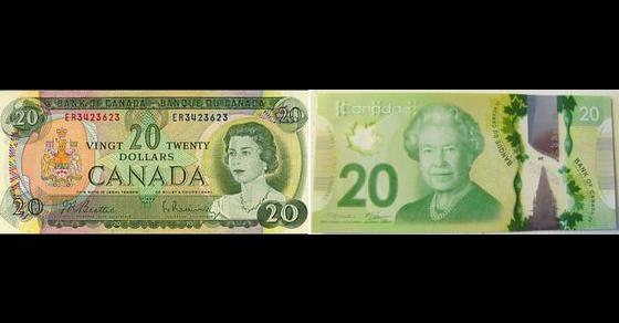 New Canadian 20 Dollar Bill Versus the 70s Version
