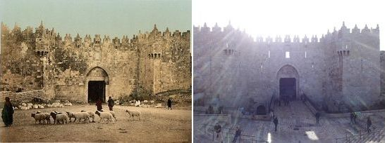 The Damascus gate in Jerusalem then and now photos.