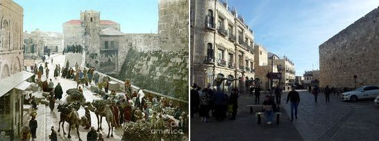 Jerusalem, Israel, old city Jaffa gate, then and now