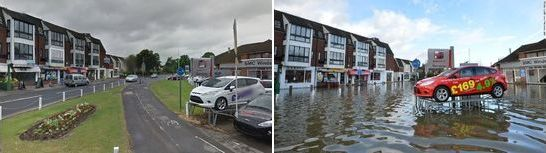 Before and after flooding on Sough Rd. in Datchet, England 2014